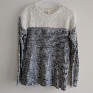 Two by Vince Camuto- Black and white Fuzzy Sweater